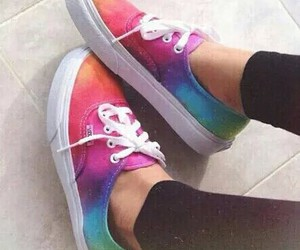 vans, shoes, and rainbow image
