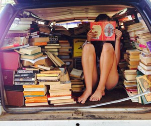 books, sun, and hipster image