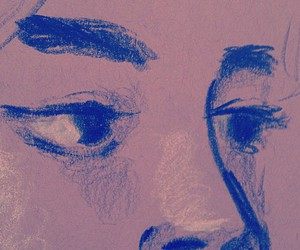 blue, draw, and face image