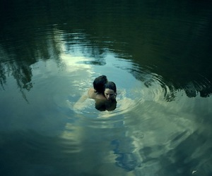 couple, nature, and skinny dipping image
