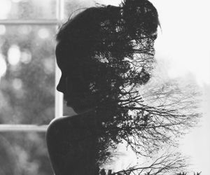 girl, tree, and black and white image