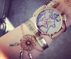 watch, bracelet, and world image
