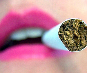 lips, pink, and cigarette image