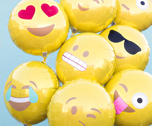 balloons, emoji, and yellow image