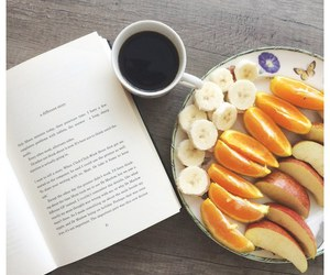 books, coffee, and fruit image