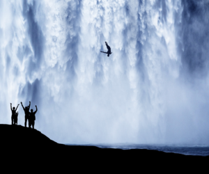 waterfall, friends, and summer image