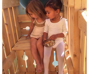 kanye west, north west, and kourtney kardashian image