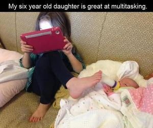 funny, baby, and multitasking image