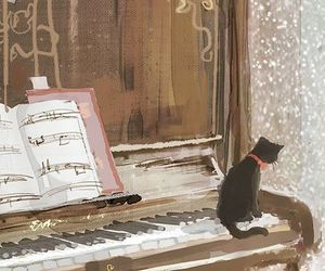 piano, anime, and cat image