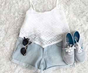 outfit, sunglasses, and shoes image