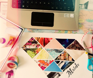 Collage, fashion, and laptop image