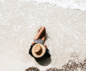 beach, summer, and hat image
