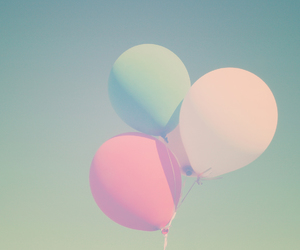 balloons, pastel, and sky image