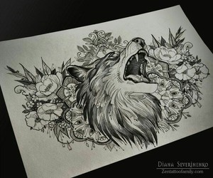 wolf, art, and tattoo image