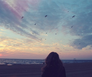 girl, bird, and sky image