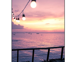 lights, sunset, and ocean image