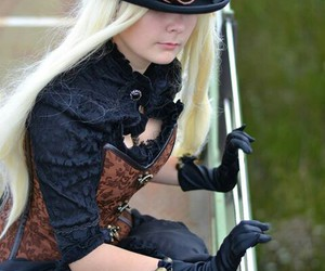 corset, cute girl, and hat image