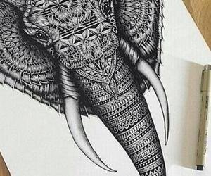 beautiful, draw, and elephant image