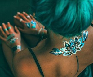 tattoo, hair, and blue image