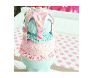 ice cream, pink, and food image