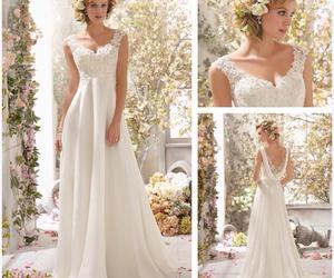 wedding dress, white, and dress image