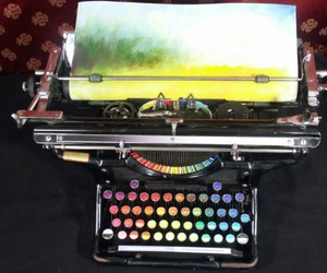 colors, typewriter, and art image