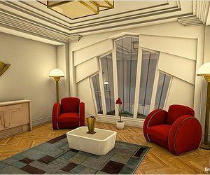 art deco, chairs, and sitting room image