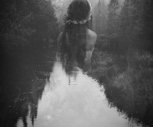 black and white, dark forest, and dark beauty image