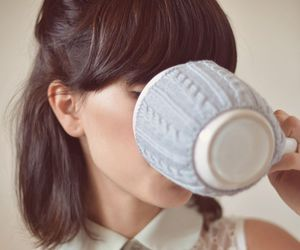 girl, hair, and cup image