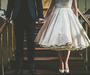 love, dress, and couple image