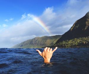 ocean, rainbow, and summer image