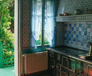 house, blue, and kitchen image