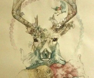 art, wolf, and deer image
