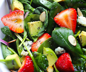salad, food, and strawberry image