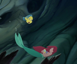 ariel, the little mermaid, and flounder image
