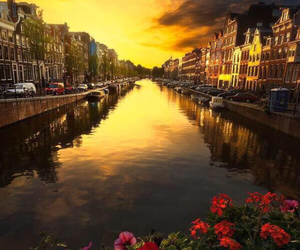 amsterdam, city, and sunset image