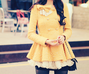 fashion, yellow, and coat image