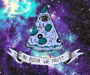 background, galaxy, and pizza image