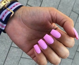 nails, pink pastel, and cuadradas image