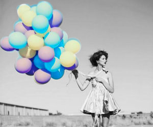 girl, balloons, and dress image