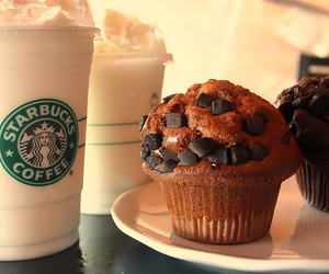 starbucks, muffin, and food image