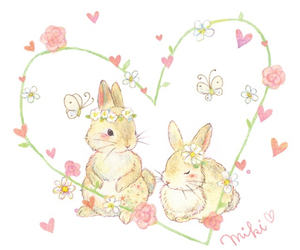 bunny, illustration, and love image