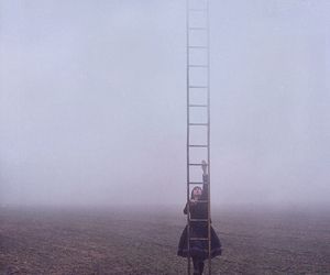 girl, ladder, and sky image