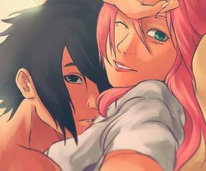anime, sakura, and sasuke image