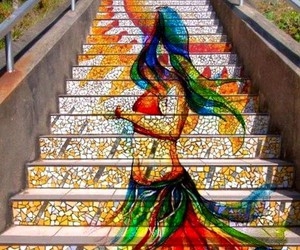 art, stairs, and colors image