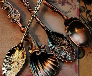 antique, spoons, and tea image