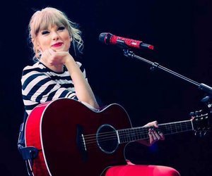 Taylor Swift, red, and guitar image