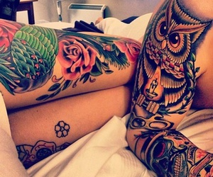 colorful, couple, and tattooed image