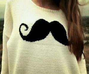 moustache, mustache, and sweater image