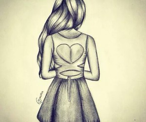 drawing, art, and heart image